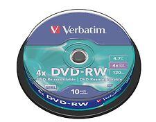 10 DVD-RW VERBATIM 4X CAKE 10 PZ DVD -RW 43552 REWRITABLE RESCRIVIBILI