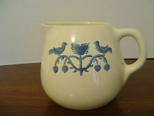 VINTAGE GAETANO POTTERY PITCHER WITH BLUE BIRD AND HEART DESIGN MADE IN USA