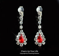 Awesome 18K White Gold Plated Stud Earrings with Red Swarovski Element Crystals
