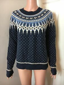 Fat Face Fair Isle Wool/Cotton Navy Jumper Size 12