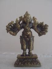 "Lord Ganesh Ganesha Vira Ganapati ""Valiant Warrior"" 16- arms Brass statue Amulet"