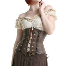Brown Faux Leather Corset Steampunk Underbust Body Shaper Waist Trainer Corsets