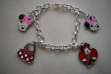 Charm Bracelet Minnie Mouse Kitsch Silver Plated