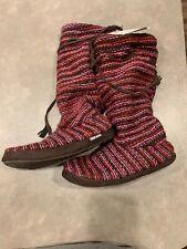 Muk Luks Womens Knit Sweater Fleece Boot Slippers House Shoes Marl Purple 7-8 M