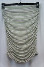 Studio M Skirt Sz L Heather Grey Flax Green Striped Ruched Jersey Casual Skirt