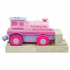 NEW Bigjigs Rail Pink Purple Battery Operated Train Engine With Wooden Track