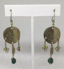 Vintage Peruvian Coin Earrings With Turquoise Dangle 3 Strand Earrings Peru