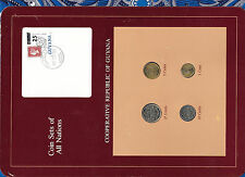 Coin Sets of All Nations Guyana UNC 1,10, 25 cents 1985 5 cents 1986 brown stamp
