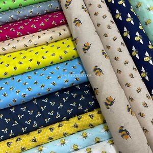 Designer Bumble Bees Theme Poly Linen/Cotton Fabric Crafting Material Sewing Bee