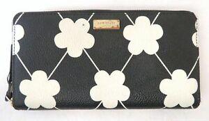 Kate Spade Black & White Flower Coated Canvas Zip Around Wallet