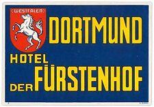 Hotel Der Fürstenhof DORTMUND Germany luggage label Kofferaufkleber  x0029