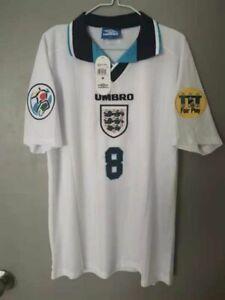 1996 England Home Retro Shirt Gascoigne #8.
