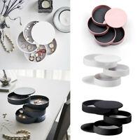 Jewelry Storage Box 4-Layer Rotatable Jewelry Accessory Storage Tray with Lid UK