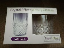 CLEAR CRYSTAL WHISKY TUMBLERS DRINKING GLASSES CUPS SET OF 4