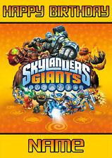 Skylanders inspirado ** Personalizado Cumpleaños Tarjeta ** Gigantes cualquier nombre A5 (Sl2)