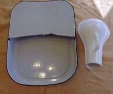Old VTG Porcelain Enamel Hospital Bed Pan Urinal Set Enamelware