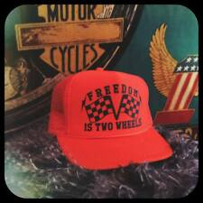 Freedom Is Two Wheels adjustable orange trucker cap w checkered flags chopper hd