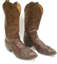 NOCONA Mens Vintage Brown Leather Cowboy Boots Size 9-9.5 Western Rodeo Exotic
