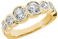 1.51 carat 6 Round Diamond Ring Yellow Gold Wedding Anniversary Band Bezel Set