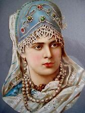 Lovely Vintage Romanian Princess Die-Cut w /Jeweled Headdress & Pearls *