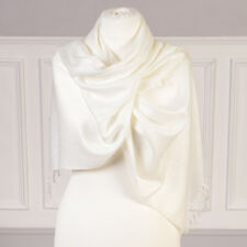Luxury Ivory White Pashmina Shawl Fashionable Scarf Gift For Her by Dibor