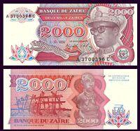 UNC /> Mobutu P-37b Zaire 5000 Zaires 1988