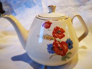Vintage Kaffeekanne Foreign mit Blumen Motiv und Goldrand Shappy 18cm hoch