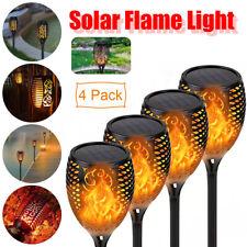 4er Solarleuchte LED Garten Beleuchtung Solar Licht Lampe Flamme Fackel Leuchte