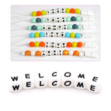 26 Alphabet Letter Silicone Cube Beads Kids Molar Toy DIY Craft Nipple Chain New