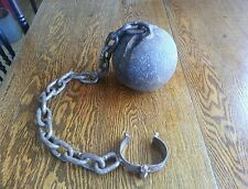 Antique Cast Iron Ball And Chain Prison / Prisoner Slave Restraint Weight
