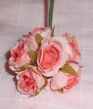 ROSE millinery Vintage style 6 silk PINK VP fabric flower pick ALEXANDER dolls