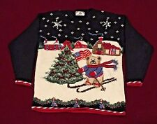 Vintage TIARA INTERNATIONAL Ugly Christmas Sweater Skiing Teddy Bear, XMAS Tree