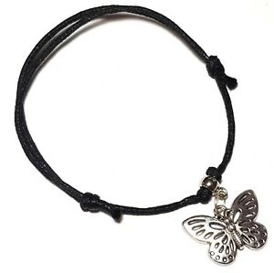 Black Cord Butterfly Ankle Bracelet Adjustable Anklet Silver Bead Foot Charm