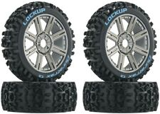 NEW Duratrax 1/8 Buggy Lockup C2 Mounted Tires / 8-Spoke Chrome Wheels (4) DT...