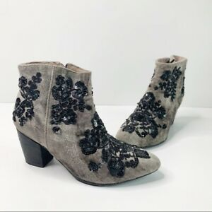 Free People embellished velvet suede gray booties size 38