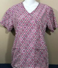 PINK BLUE FLORAL MOCK WRAP TIE IN BACK SCRUB TOP BY LOS ANGELES ROSE SZ XS