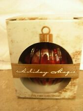 Holiday Magic Ornament Candy Dish 24% Lead Crystal Christmas St. George Red