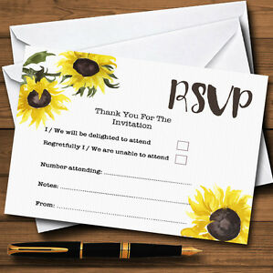 Stunning Watercolour Sunflower Personalised RSVP Cards