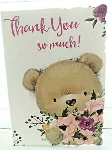 Thank You So Much! Cute Bear Holding Flowers