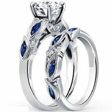 Certified 3.00ct White & Blue Round Cut Diamond Engagement Ring Set in 14K GOLD