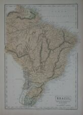 Original 1865 Map BRAZIL Rio de Janeiro São Paulo Amazon River Pernambuco Natal