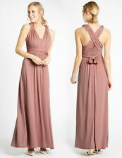 BNWT M&S Multiway Strap Maxi Dress Bridal Bridesmaid Prom Party Antique Rose (C)
