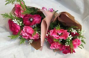 Artificial Silk Flower Gift Bouquet Wrap Get Well Miss You Flowers Mum Nan Pink