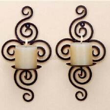 2Pcs Black Decorative Swirling Hanging Wall Candle Holder Sconce Iron Home Decor