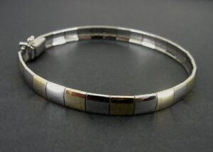 Alternating Yellow Gold Vermeil and Sterling 925 Silver Links Italy Bracelet