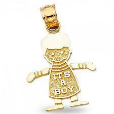 Its A Boy Pendant Solid 14k Yellow Gold Babys First Gift Charm Diamond Cut Fancy