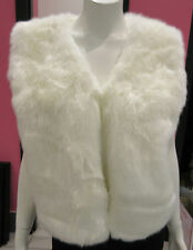 White Faux Fur Jacket Size Large Vest Coat Ivory Fur Lined $84 Luxurious NWT