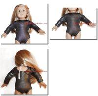 Metallic Black Leotard 18 in Doll Clothes Fits American Girl Dolls