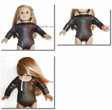Metallic Black Leotard 18 in Doll Clothes Fits American Girl Dolls