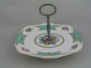 ROYAL ALBERT LADY ASCOT CAKE PLATE ON PLATED STAND.